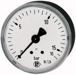 Standard pressure gauge, rear centric, G 1/4, -1 / 0 bar, 63 - Standard pressure gauges with sheet steel housing, connection on rear, centrical