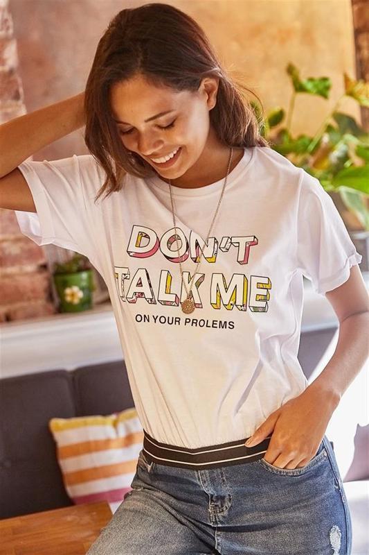 Women's Short White Printed T-shirt - Women's T-Shirt