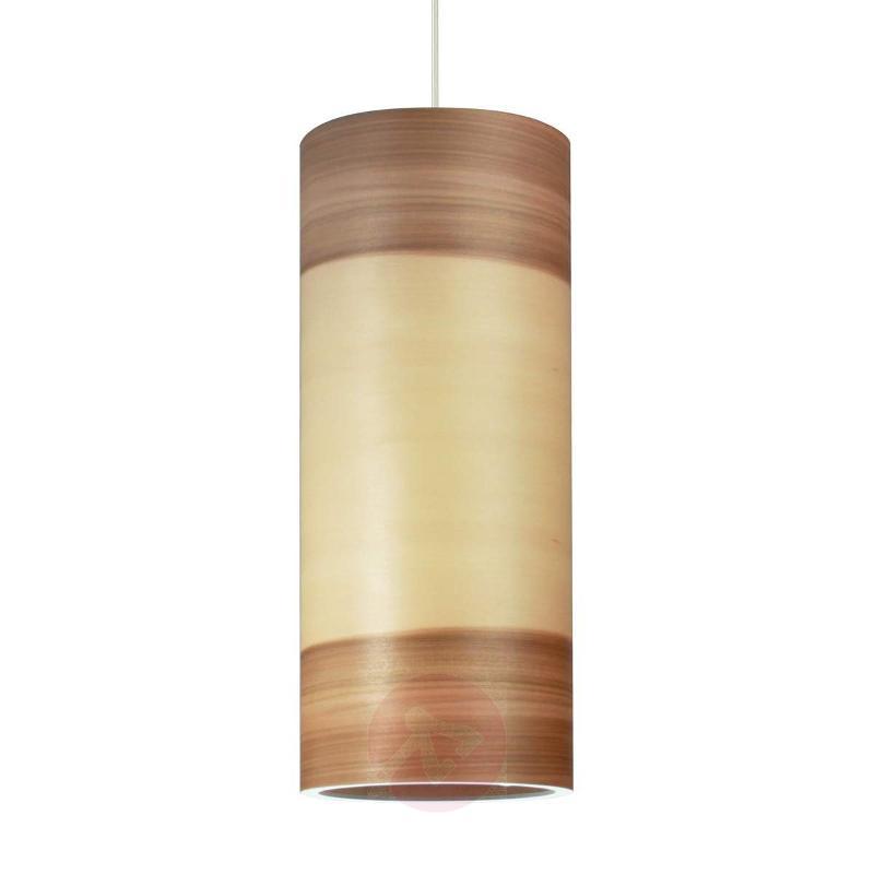 Hanging light Funk, wood veneer, satin walnut - Pendant Lighting
