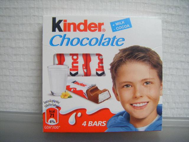 KINDER CHOCOLATE 4 bars of Milk Chocolate - null