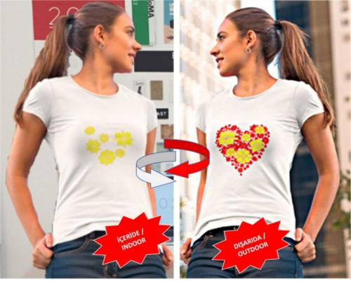Güneşte renk değiştiren kadın t-shirt