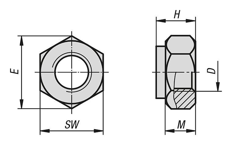 Écrou avec attache DIN 980 - Éléments de liaison