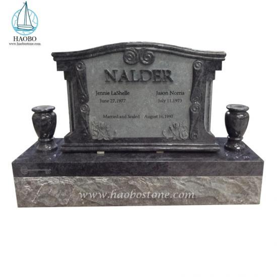 American Style Tombstone Rose Carving Bahama Blue Headstone - Tombstone Sets