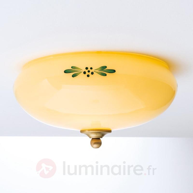 Plafonnier Nilay couleur champagne, décor vert - Plafonniers en verre