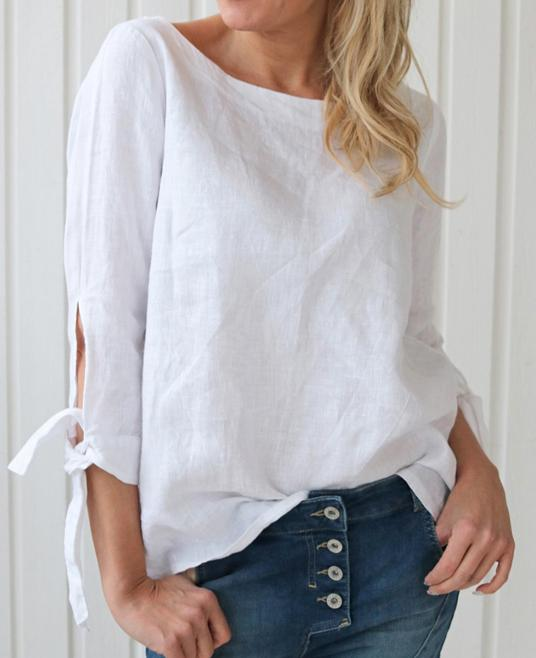 Linen Shirt Short Blouse