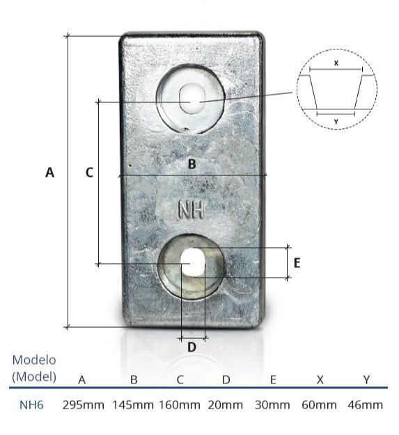 Ânodo de zinco para protecção catódica - Ânodos de aparafusar NH6