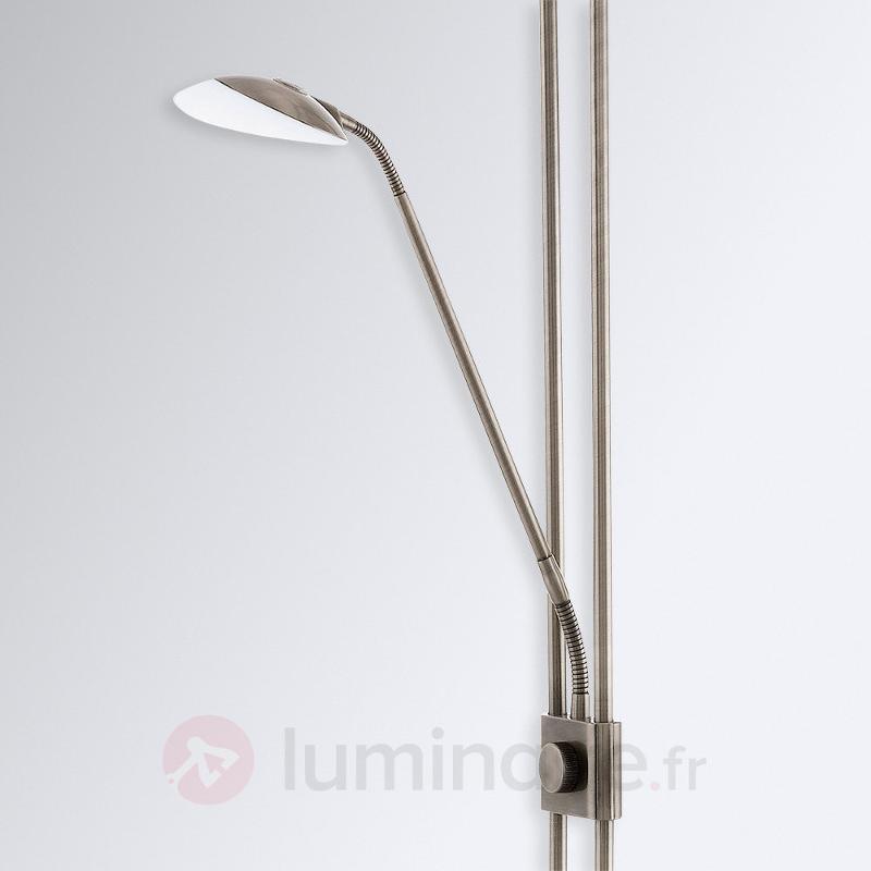 Lampadaire LED Baya avec liseuse, acier bruni - Lampadaires LED à éclairage indirect