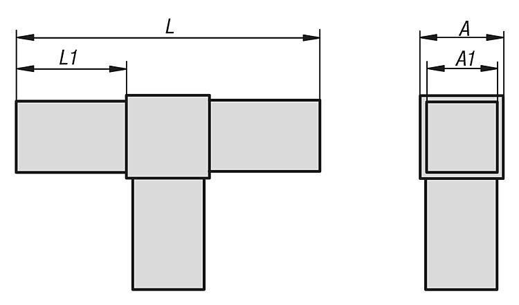 Square tube connectors three-way, flat - K0617