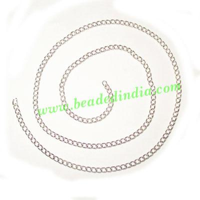 Silver Plated Metal Chain, size: 0.5x2mm, approx 105.5 meter - Silver Plated Metal Chain, size: 0.5x2mm, approx 105.5 meters in a Kg.