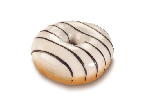 Vanilla-Cream Donut, light Glaze with a dark Decoration - American bakery