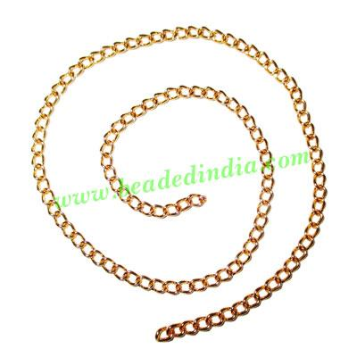 Gold Plated Metal Chain, size: 1x2.5mm, approx 83.8 meters i - Gold Plated Metal Chain, size: 1x2.5mm, approx 83.8 meters in a Kg.