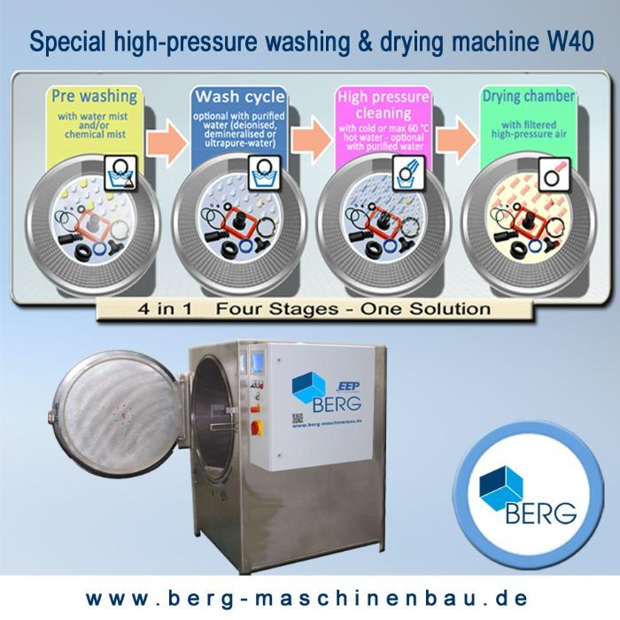 W40 special high-pressure washing & drying machine - for the efficient cleaning of medical & technical elastomers