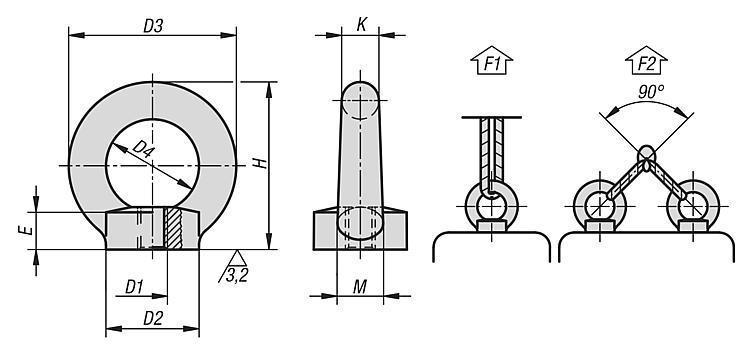 Anneau de levage femelle DIN 582 / en inox similaire à... - Anneaux de levage fixes et pivotants, anneaux à broche autobloquante