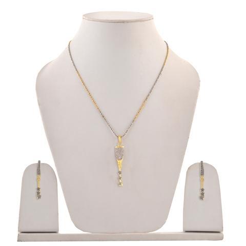 Pendant Necklace Dangle Earrings Set  - Zephyrr Fashion Pendant Necklace Dangle Earrings Set with American Diamonds