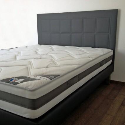 Cache-sommier et tête de lit - Tête de lit en skaï matelassé piquage carré