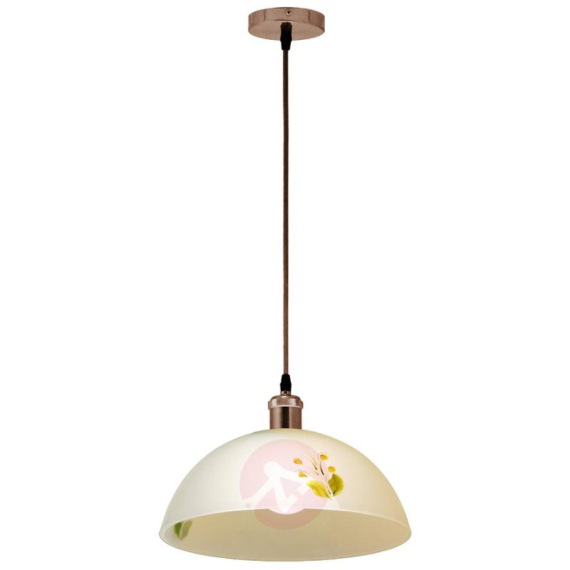 Amilia - glass pendant lamp, salmon lampshade - indoor-lighting