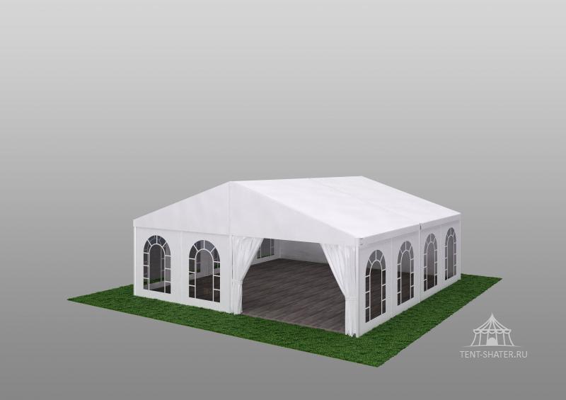 Двухскатный шатер 10х10 - Алюминиевая каркасно-тентовая конструкция 10х10 м, двухскатная, быстросборная