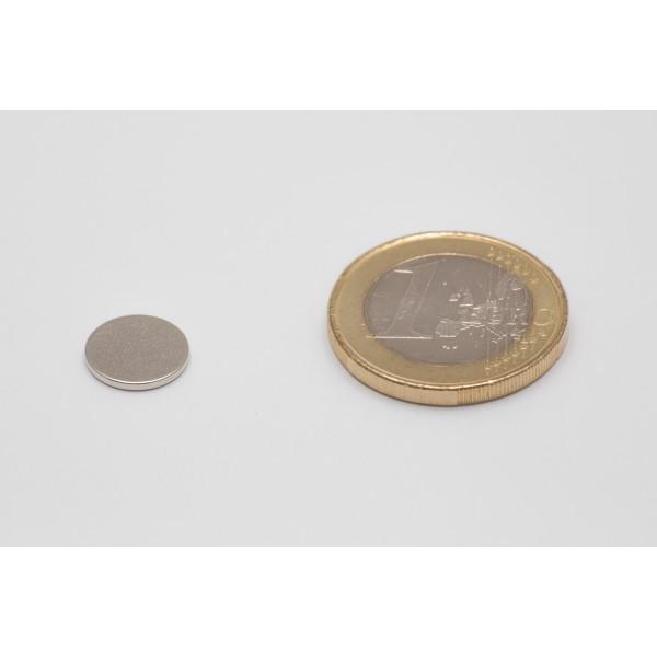 Neodymium disc magnet 10x1mm, N45, Ni-Cu-Ni, Nickel coated - Disc
