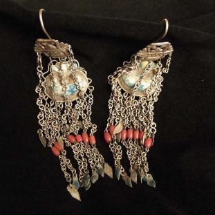 Boucles d'oreilles - Argent, émail, coraux, Chine