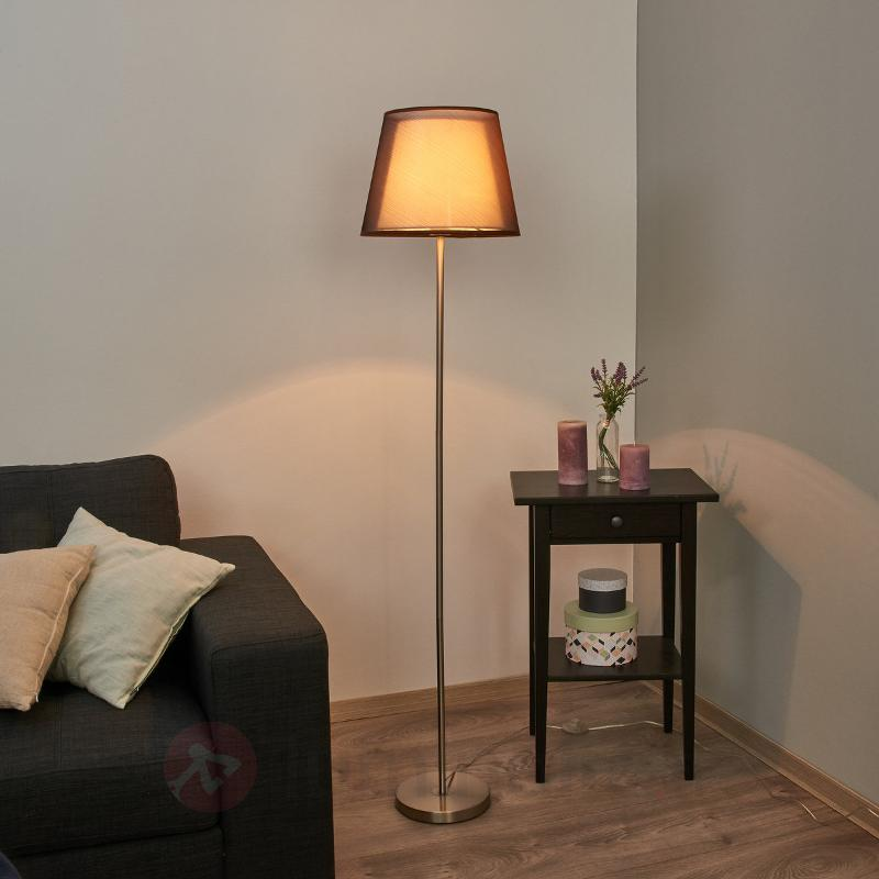 Lampadaire Weni marron - Lampadaires en tissu