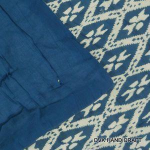 Indigo blue cotton quilt, india handmade kantha quilt - hand block printed cotton kantha quilt, india traditional indigo blue mudrasist