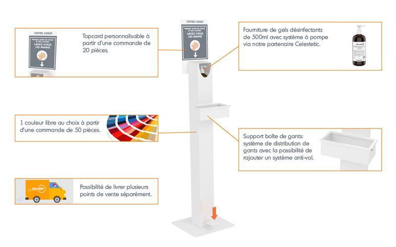 DISTRIBUTEUR DE GEL HYDROALCOOLIQUE SANS CONTACT - borne de distribution de gel désinfectant à pédale