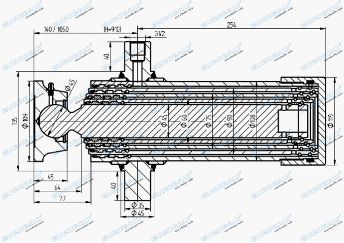 Telescopic four-stage cylinder (piston stroke: 910 mm) - Telescopic four-stage cylinder HC000905