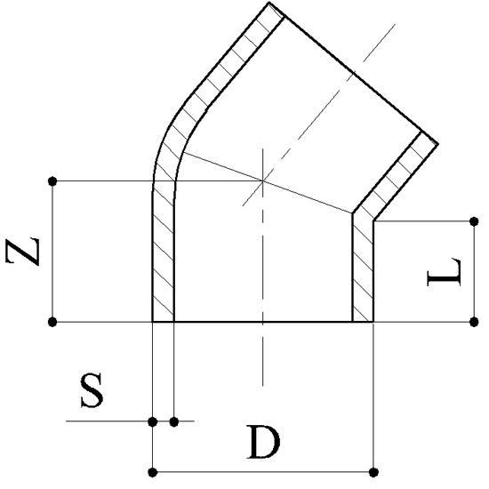 Curve 45° - Raccordi PP Raccordi in Polipropilene per saldatura di testa