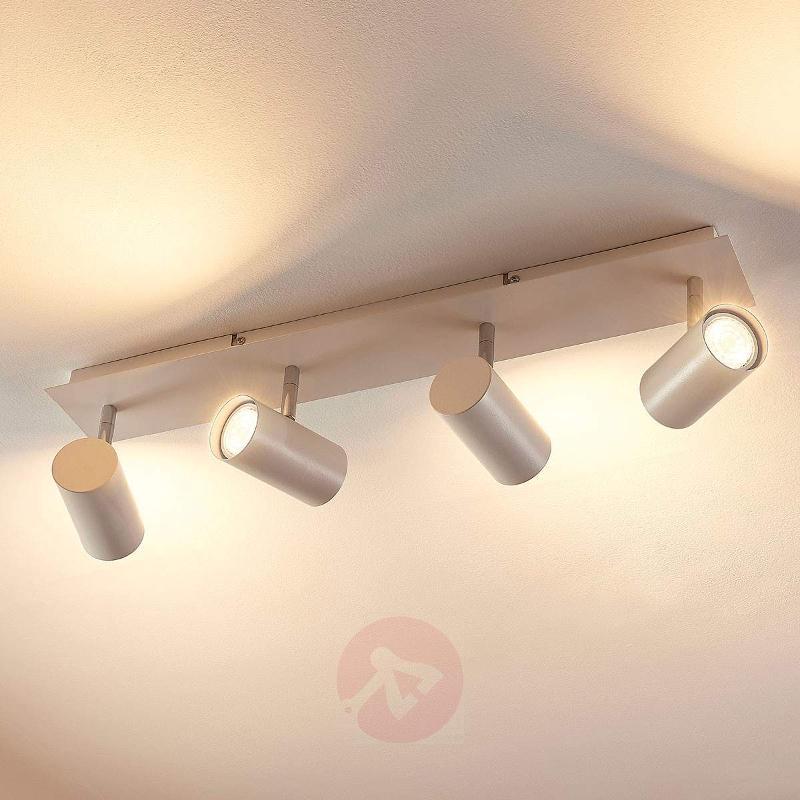 4-bulb LED ceiling spotlight Iluk, white finish - Spotlights