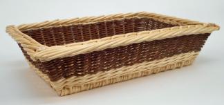 Corbeille rectangulaire évasée osier blanc & brut - null