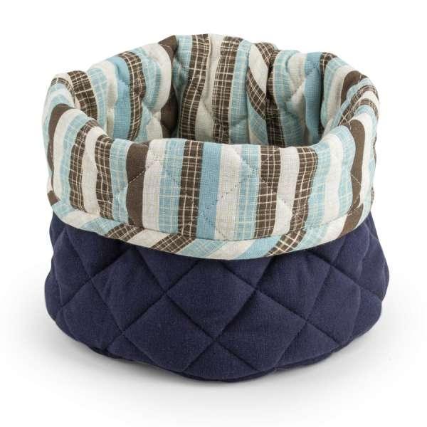 Košara Svilanit Blue - Okrogla košara je narejena iz bombažne tkanine in polnila iz kakovostnih mikrovl