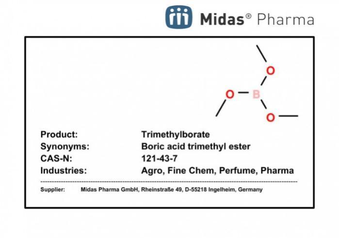 Trimethylborate - Boric acid trimethyl ester; 121-43-7; Agro, Fine Chem, Perfumery, Pharma
