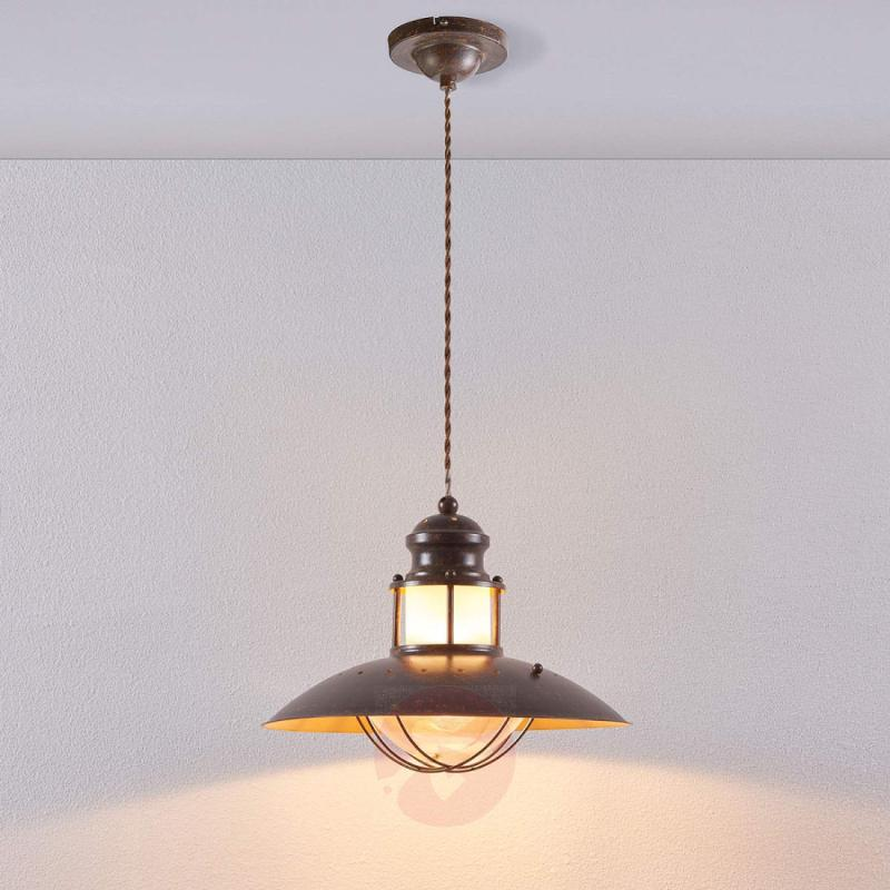 Rustic Louisanne pendant lamp in brown - indoor-lighting