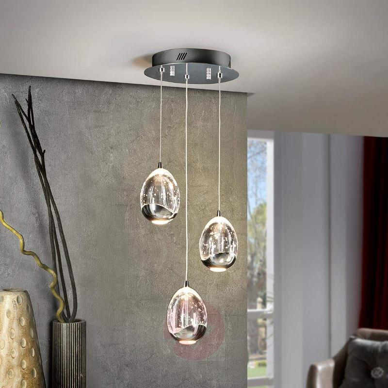 3-bulb LED hanging light Rocio in chrome - Pendant Lighting