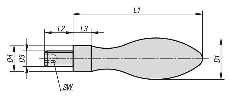 Machine and Handwheel Handles, fixed DIN 39 Style E,... - K0166 Metric
