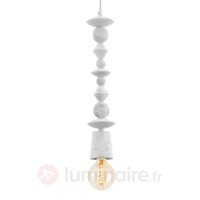 Look vintage - suspension blanche Avoltri - Suspensions en bois