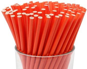 Quality Paper Drinking Straws - Plain Red Design - Price from £0.0065 each