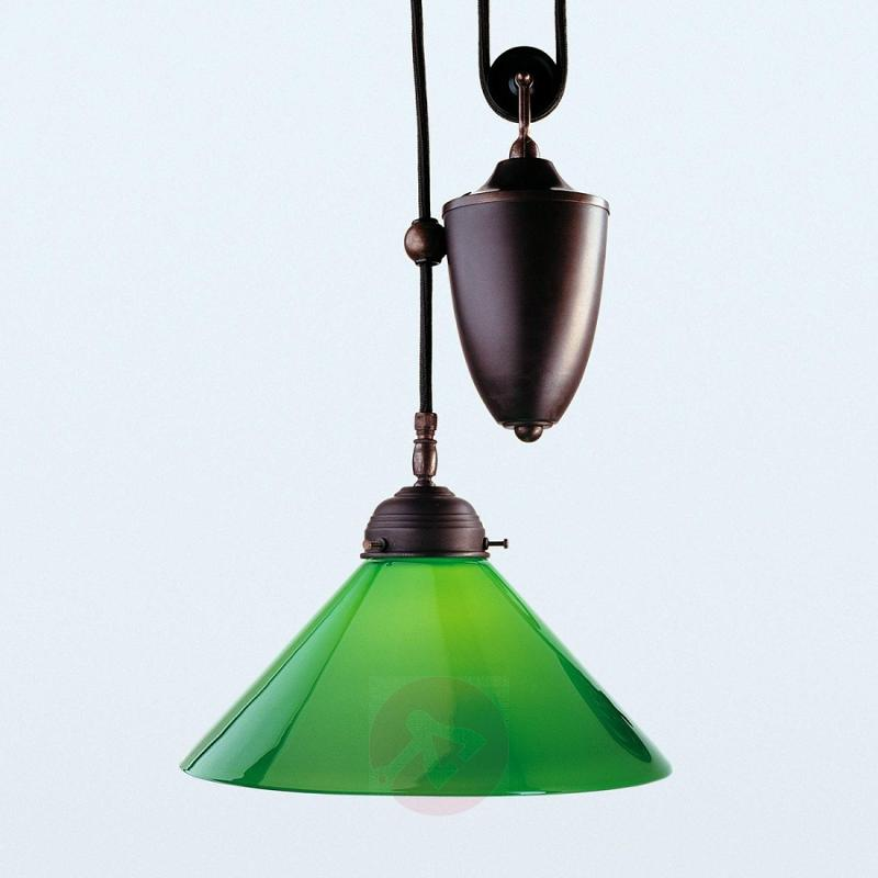 Jonas hanging light with a green lampshade - design-hotel-lighting