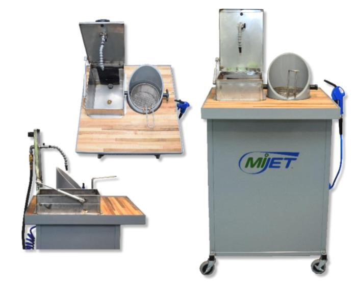 MiJET Wash Station 20,3cm - MiJET washing station 20,5 cm diameter with solvent container and parts basket