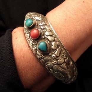 Bracelets - Argent, turquoises, coraux, Népal