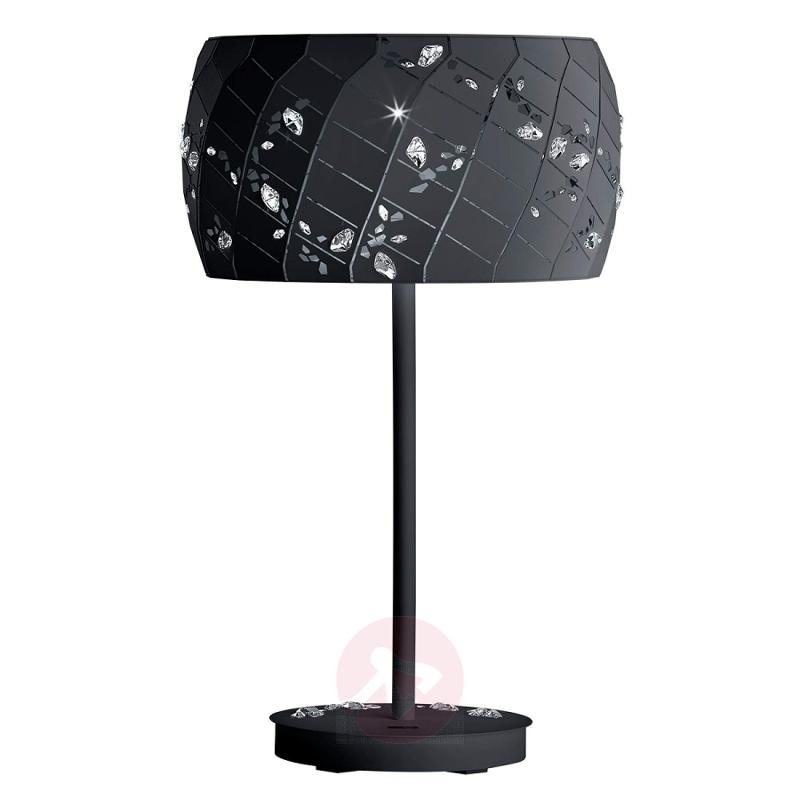 Black table lamp Apta with crystals - design-hotel-lighting