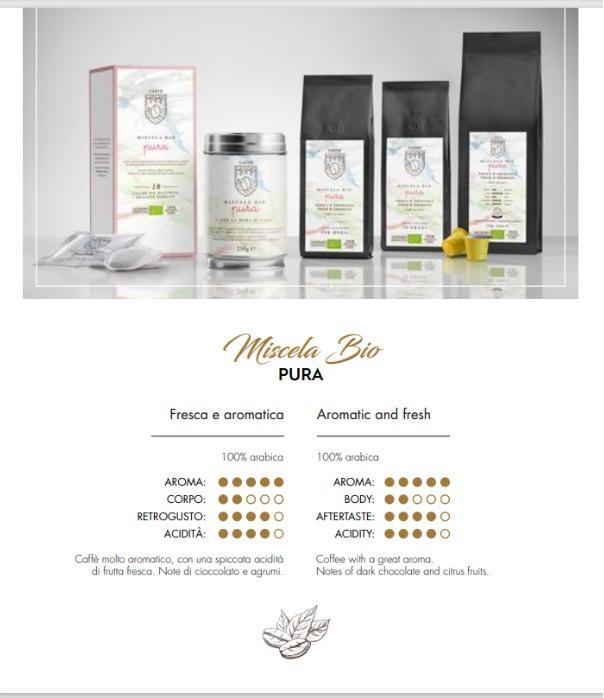 BIO PURA  - Caffè biologico 100% Arabica, alta quality, produzione artigianale