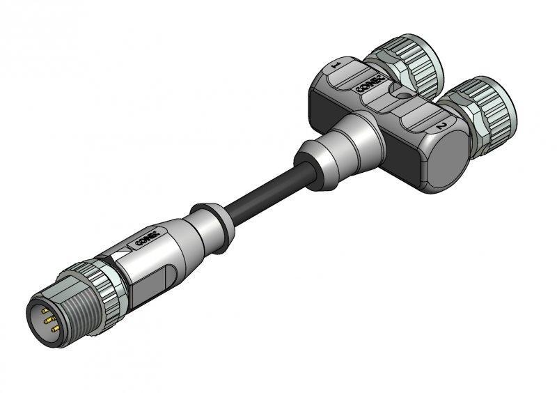 M8x1/M12x1 Y-Splitter - M8x1/M12x1 Y-Splitter