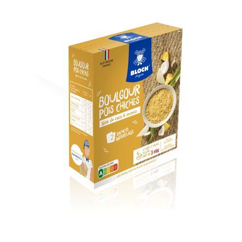BOULGOUR & POIS CHICHES COCO/ ANANAS - NUTRISCORE A - 2 SACHETS INDIVIDUELS 2X 100G