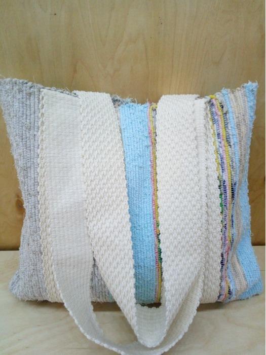 Handwoven rag  shopper  - 100% handmade! Eco style! 100% cotton!