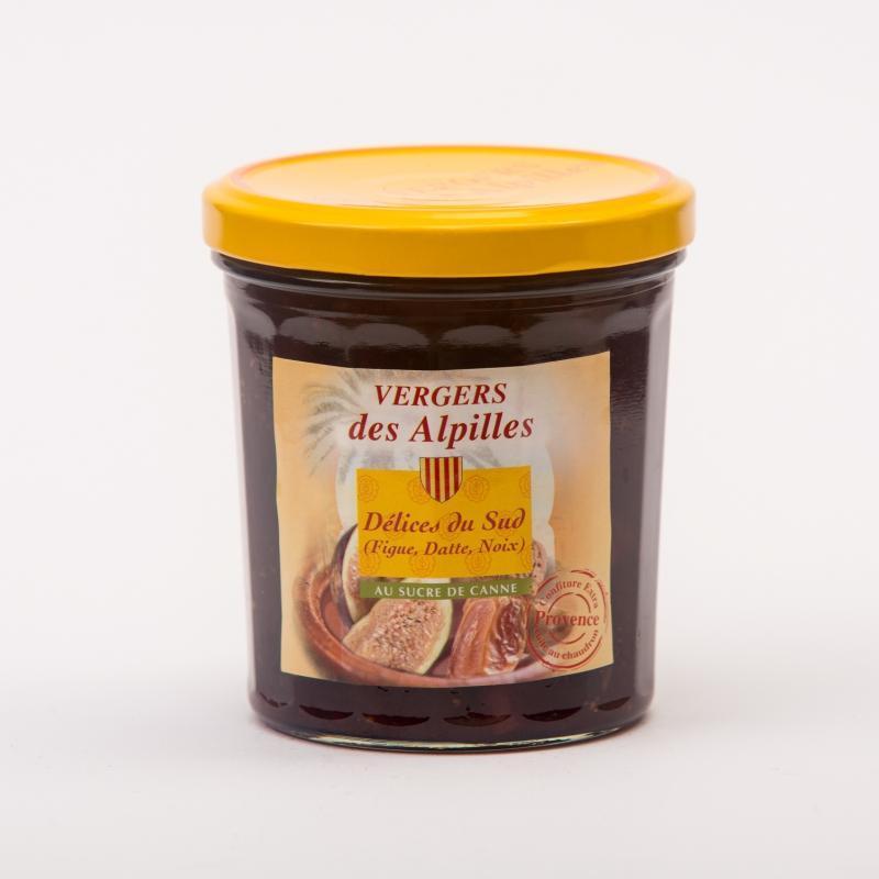 Vergers des Alpilles - Délices du Sud (figue/dattes/noix) - Confitures au sucre de canne