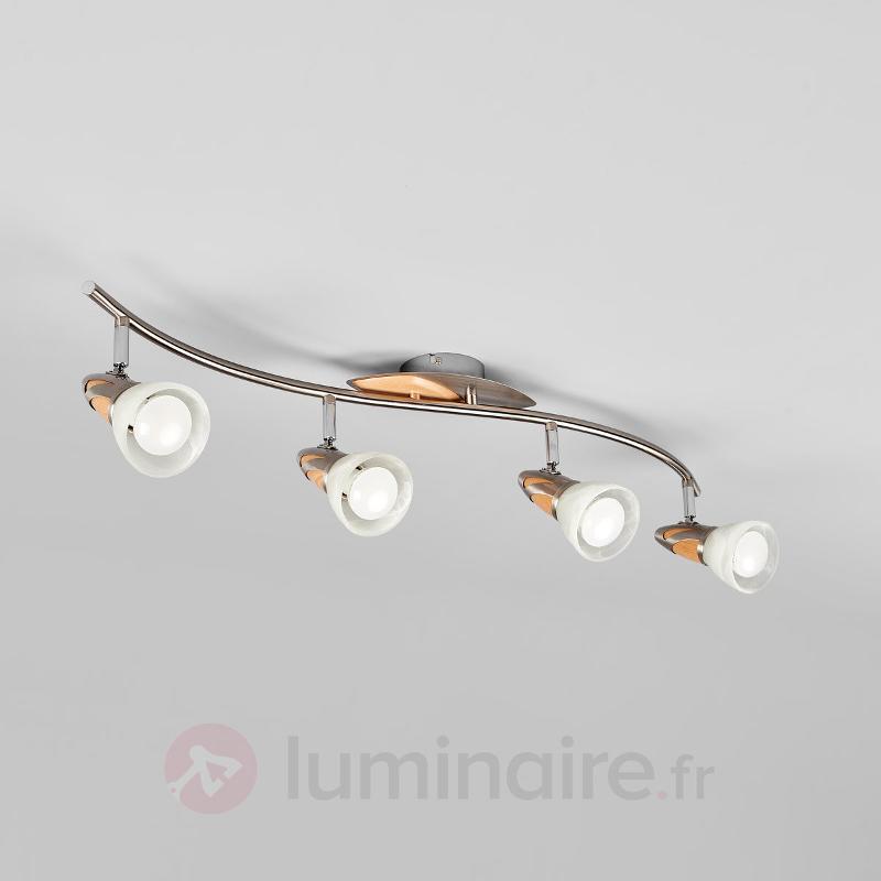 Plafonnier LED en bois Marena à 4 lampes, E14 - Plafonniers LED