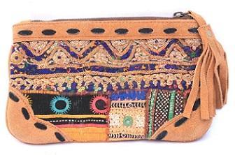 Banjara leather Binayi clutch bag