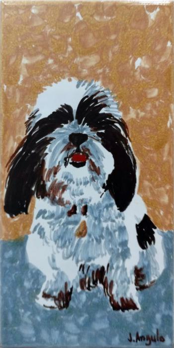 Azulejo retrato de perro - Azulejo pintado a mano