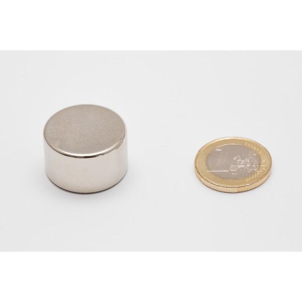 Neodymium disc magnet 25x15mm, N45, Ni-Cu-Ni, Nickel coated - Disc